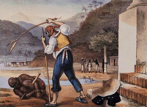 A Brazilian slave owner punishes a slave in 19th century Brazil.-  Jean-Baptiste Debret (1834–1839)