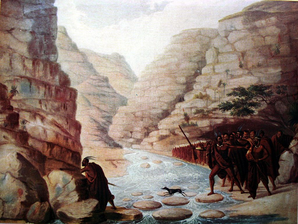 A column of Xhosa, crossing a ravine in the frontier mountains - Frederick I'Ons