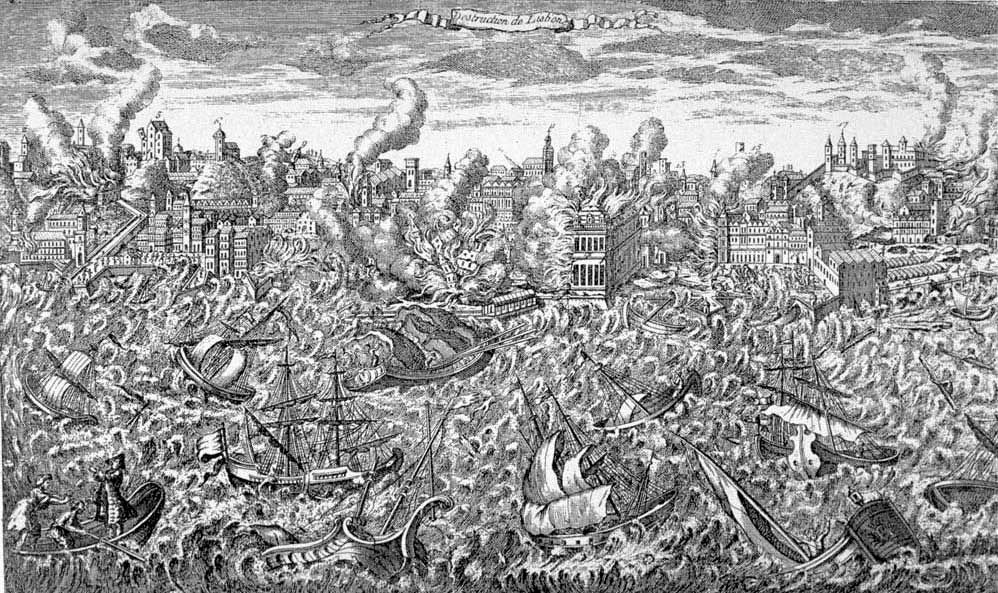 Lisbon, Portugal, during the great earthquake of 1 November 1755. - copper engraving,
