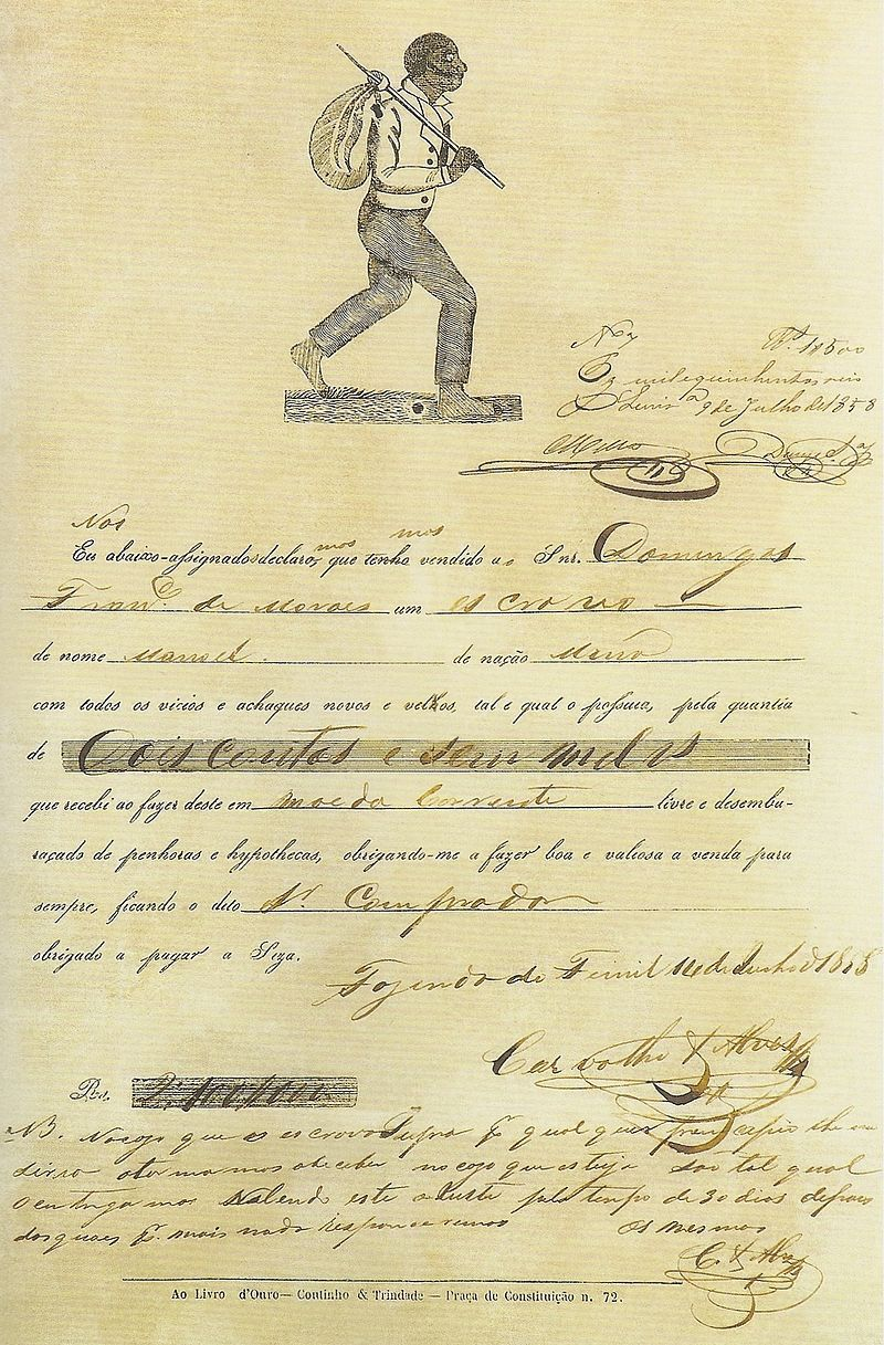 Contract for the sale of a slave in Brazil