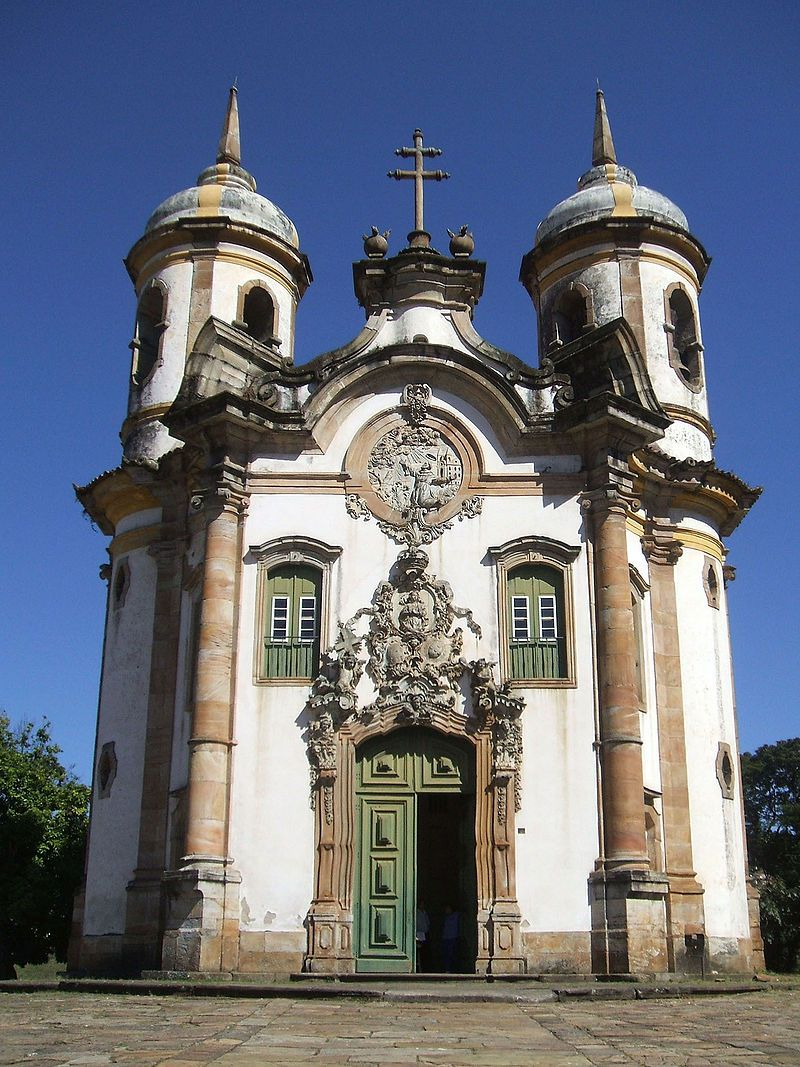 Church of the Third Order of St Francis in Ouro Preto. The façade is the work of Aleijadinho.