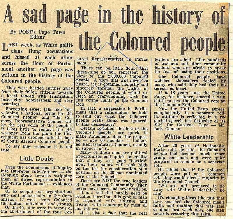 A sad page in the history of the Coloured people - Post, South Africa
