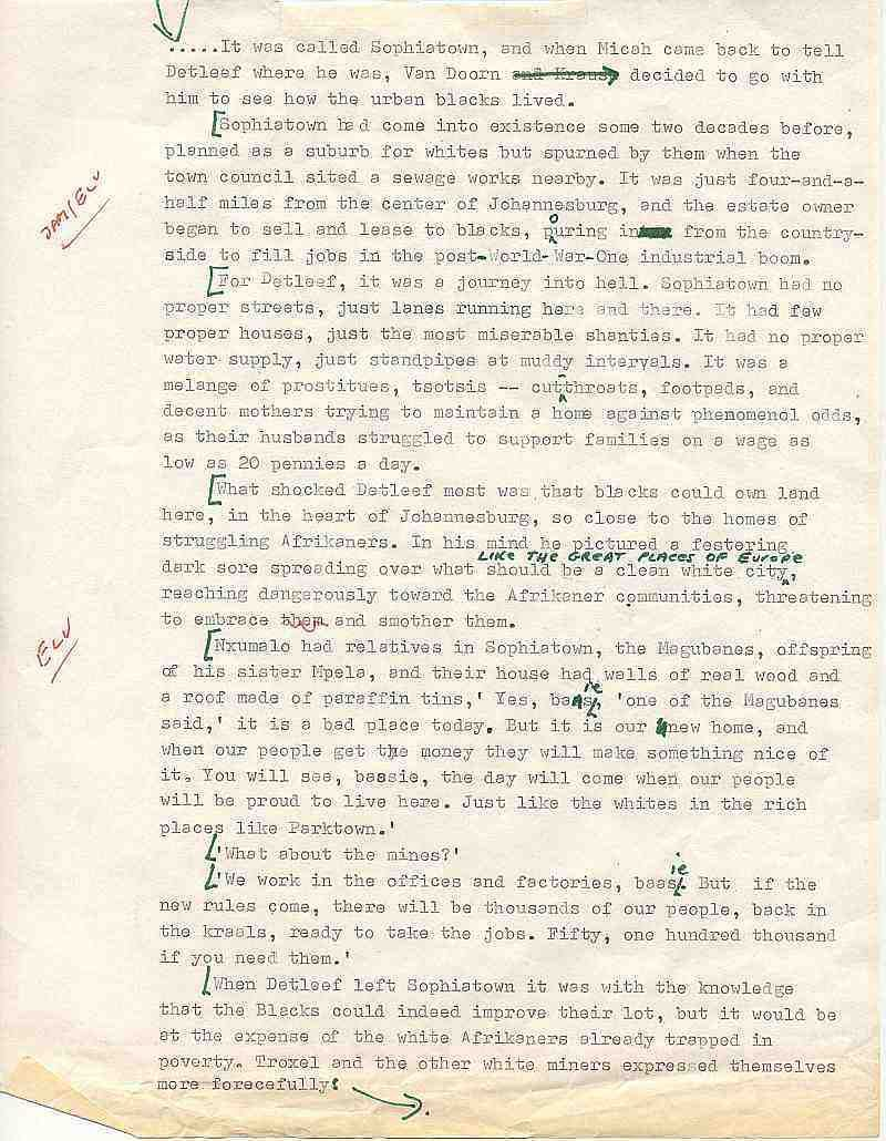 Errol Lincoln Uys - Sophiatown, Johannesburg - draft page for The Covenant
