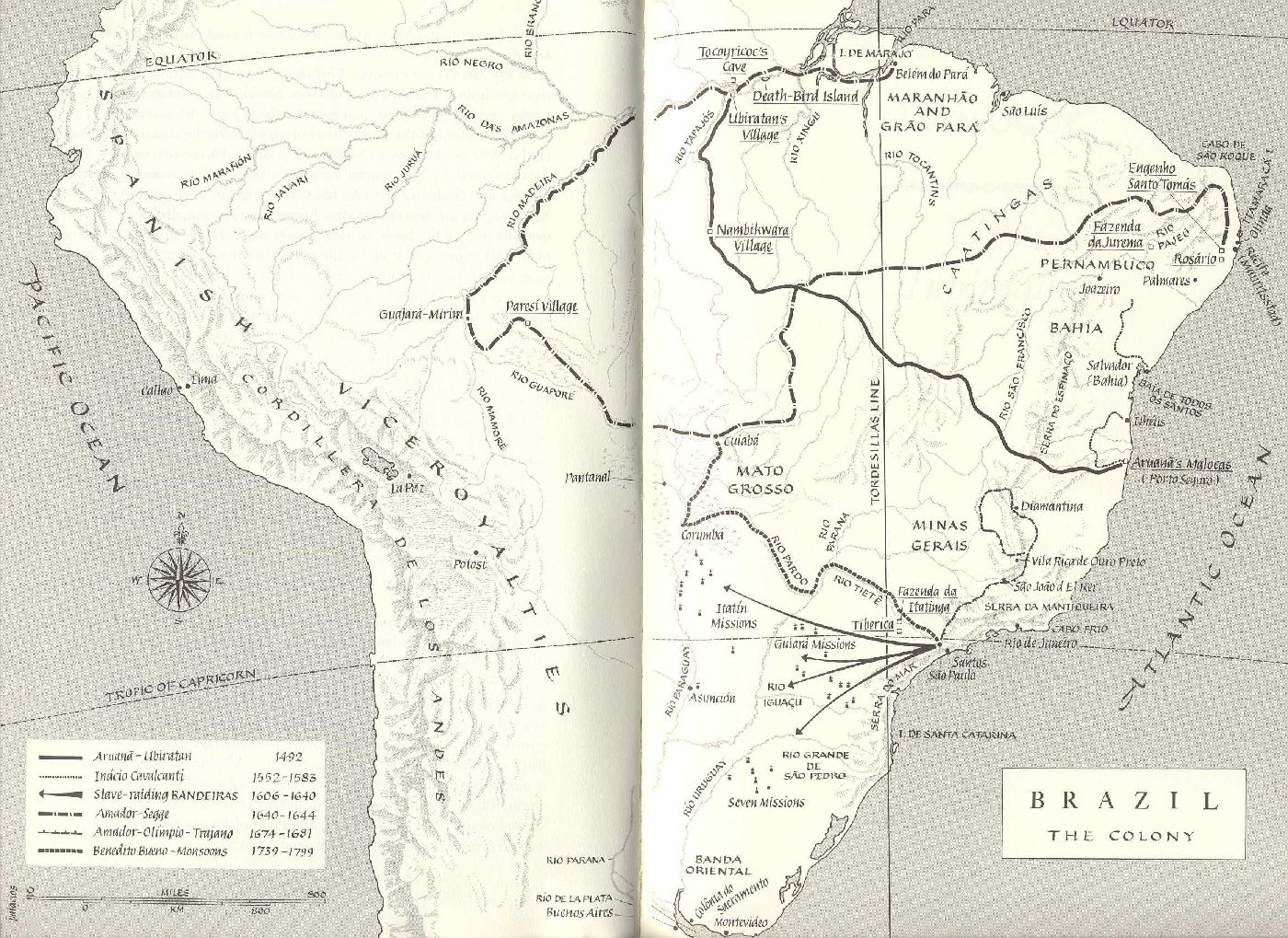 Brazil - map from the epic novel by Errol Lincoln Uys