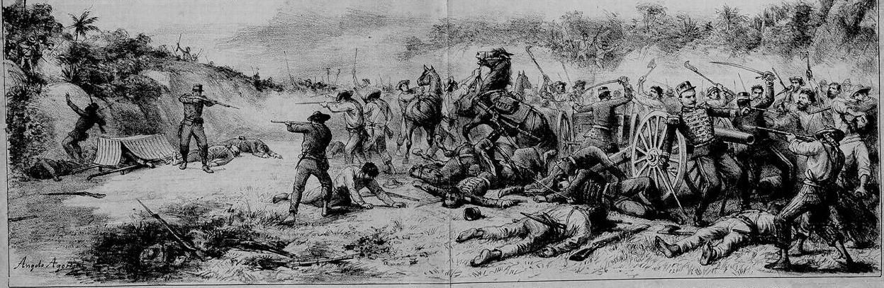 Canudos rebels attack on government artillery battery - Angelo Agostini