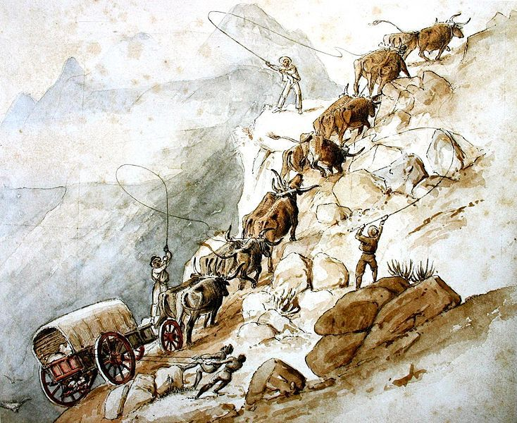Voortrekkers crossing the Drakensberg - Charles Collier Michell