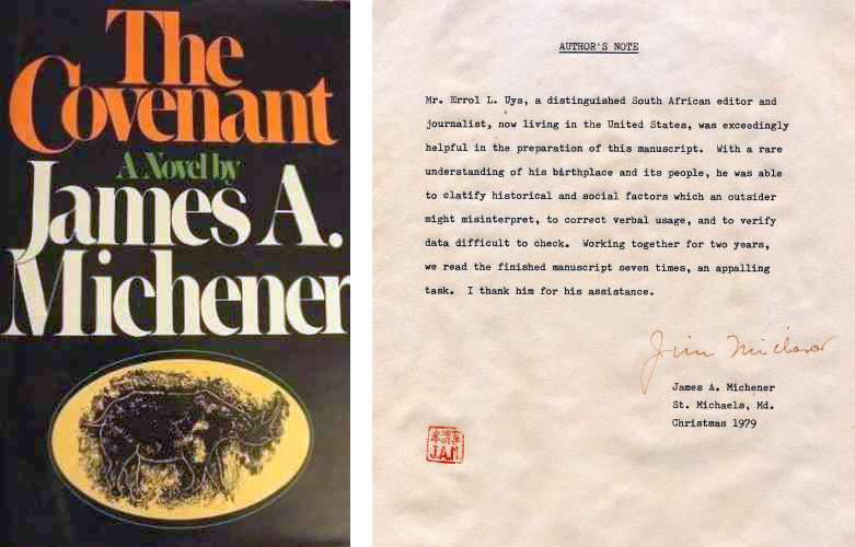 The Covenant by James Michener - Original author's note, December 1979