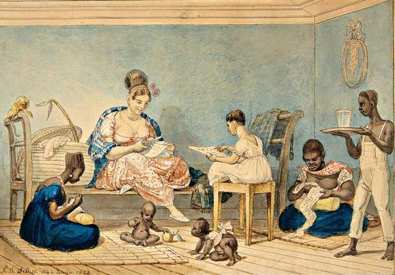 Brazilian woman at home with slaves - Jean-Baptiste Debret - Col.-Museus-Castro-Maya