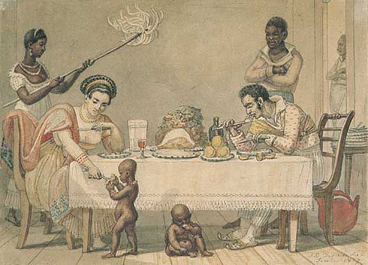 Brazilian slaves in domestic scene - Debret