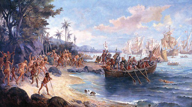Romantic depiction of Cabral's first landing on the Island of the True Cross (present-day Brazil). He can be seen on the shore (center) standing in front of an armored soldier, who is carrying a banner of the Order of Christ.