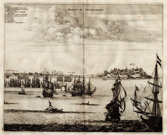 Dutch Siege of Olinda - John Ogilby's Atlas of America
