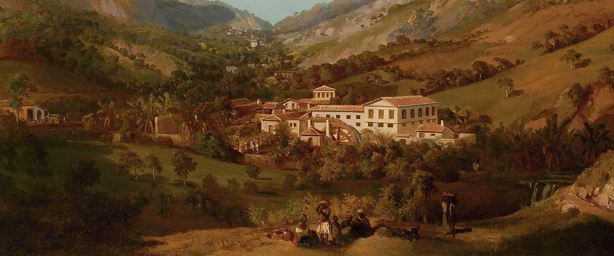 Brazilian fazenda in Empire period - detail from painting by Eduard Hildebrandt