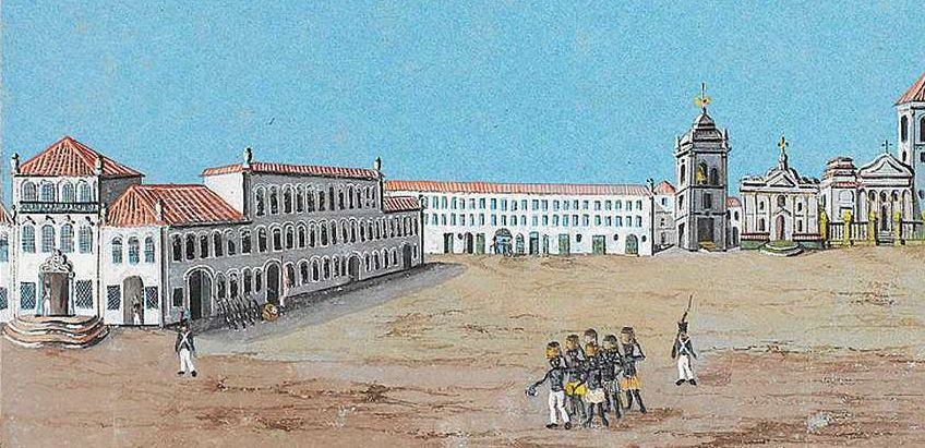 View of the Largo do Carmo, now site of the Praça XV de Novembro (15 November Square) in the center of Rio, a few years after the arrival of the court.-  Franz Josef Frühbeck