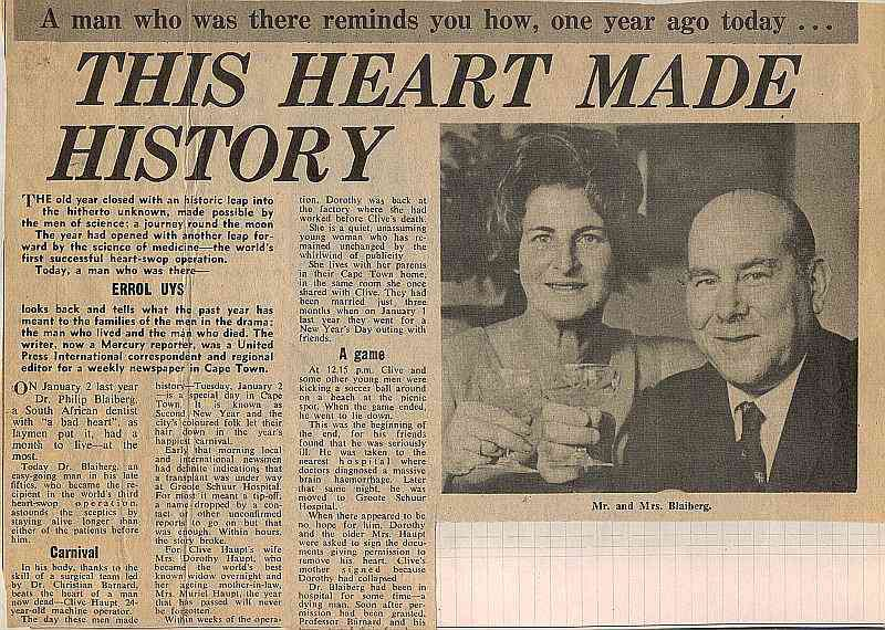 First heart transplant remembered  - Dr.Philip Blaiberg - South East London Mercury