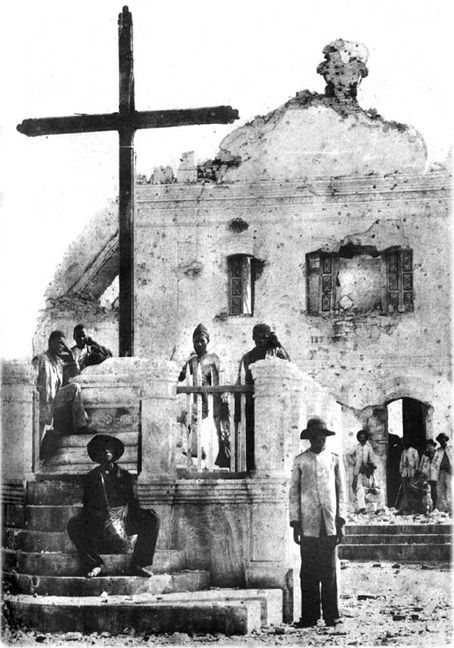 Canudos church after bombardment by Brazilian army
