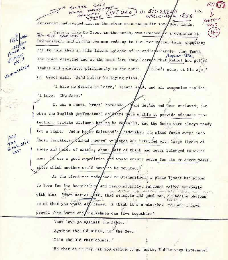 Michener, The Covenant - Draft page from The Voortrekkers 1