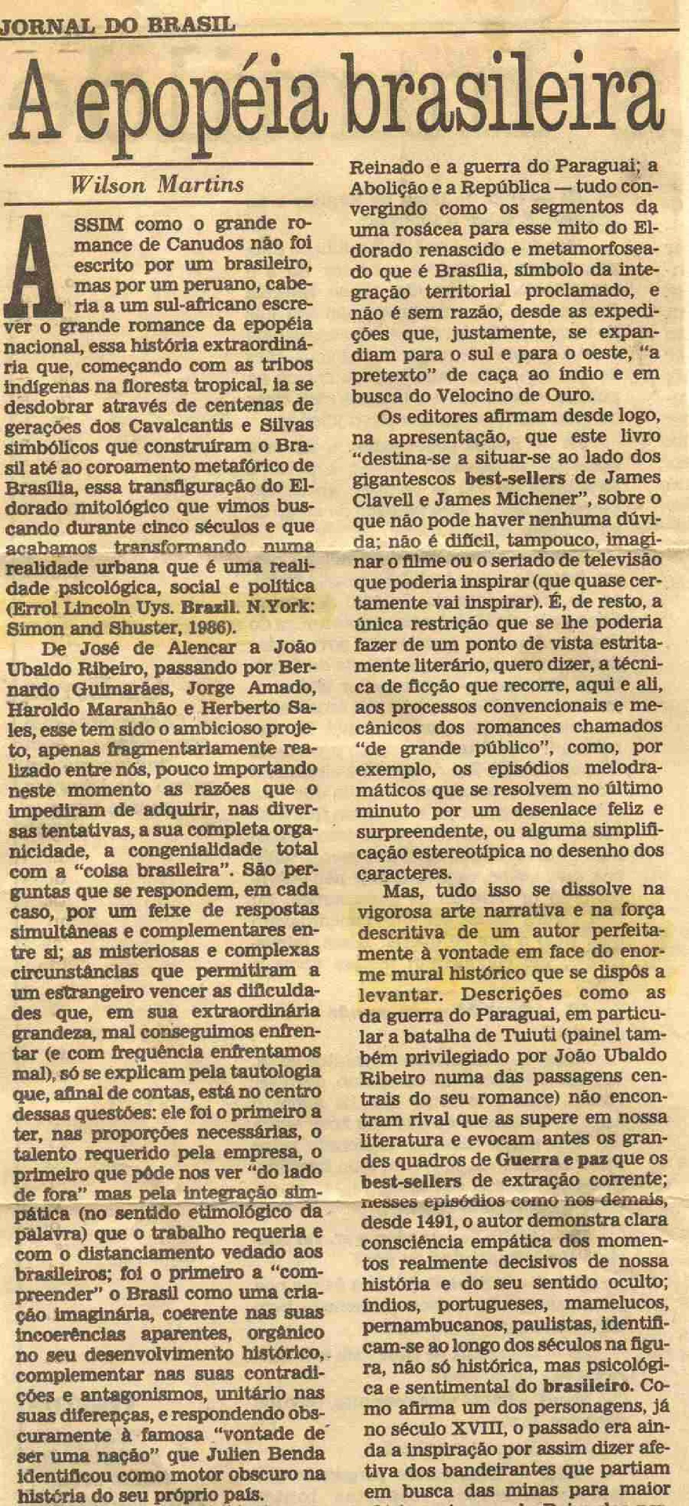 Jornal do Brasil, review of Brazil by Errol Lincoln Uys by Wilson Martins