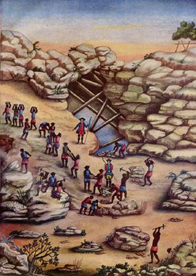 Brazilian slaves | 18th century diamond mining. - Carlos Juliao - http://slaveryimages.org/