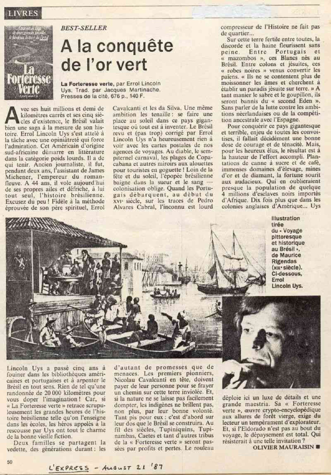 L'Express, Paris - Review of Brazil (La Forteresse Verte) by Errol Lincoln Uys