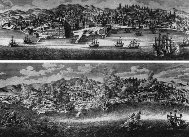 Etchings of before and after views of Lisbon