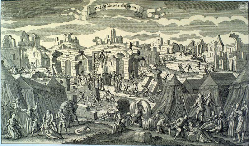 The Ruins of Lisbon. - 1755 German copperplate image,