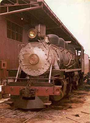Madeira-Mamoré railroad locomotive in Porto Velho yard, 1981