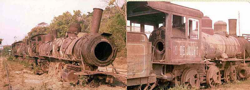 Locomotives abandoned on Madeira-Mamoré railroad near Porto Velho, Brazil