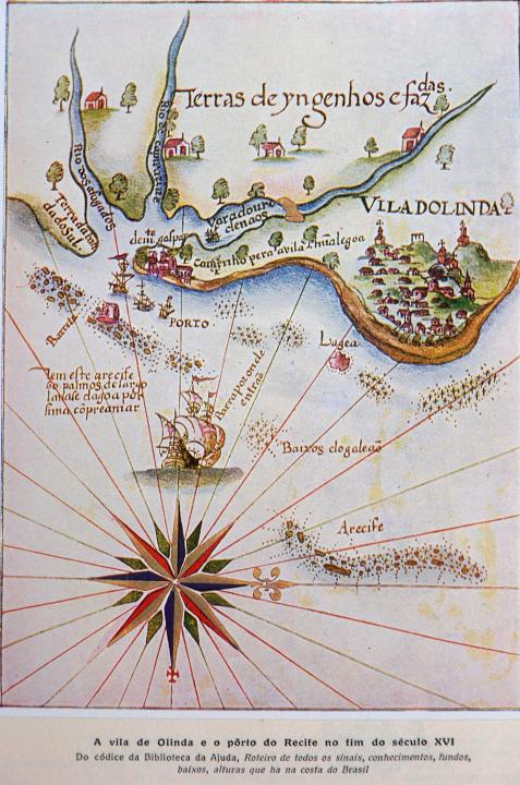 16th century map of Olinda and port of Recife