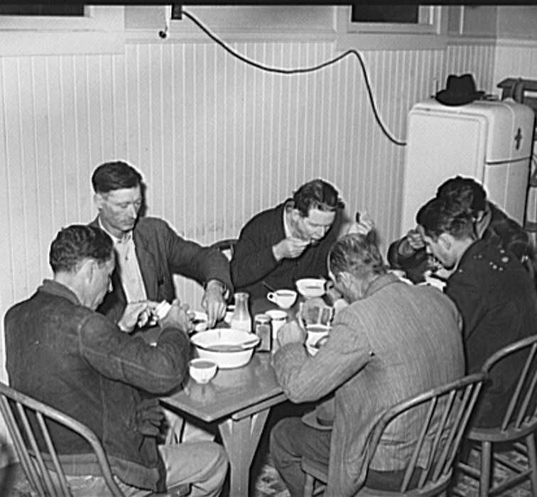 Men eating afternoon meal at Salvatiion Army, Corpus Christi, Texas  Photo: Russell Lee
