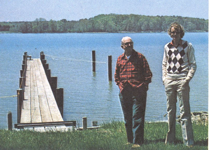 James A Michener and Errol Lincoln Uys, St. Michaels, 1979