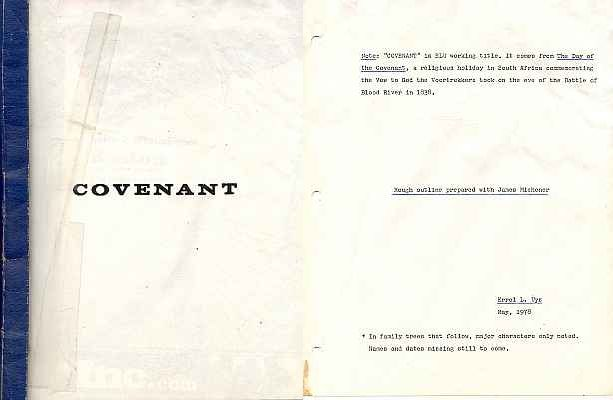 Errol Lincoln Uys - Outline for Michener novel, The Covenant