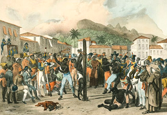 Public whipping of a slave in Brazil