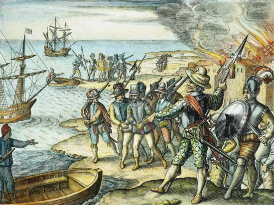 Sir Walter Raleigh raids Trinidad, 1595