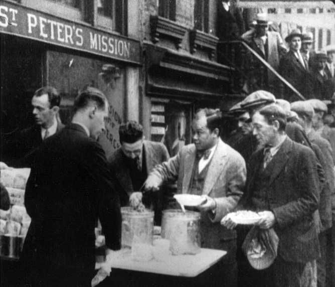 Long line of people waiting to be fed: New York City, 1932 -   Franklin D. roosevelt Library