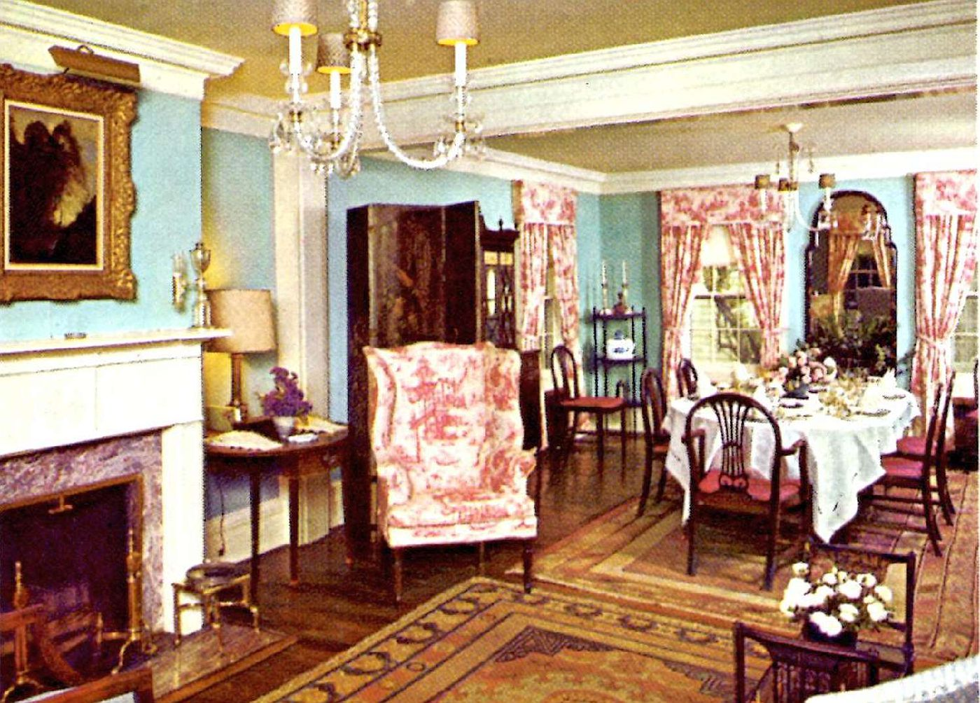 Living room and dining room at Reader's Digest guest house, 1977
