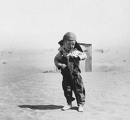 Son of farmer in dust bowl area. Cimarron County, Oklahoma  Photo: Arthur Rothstein