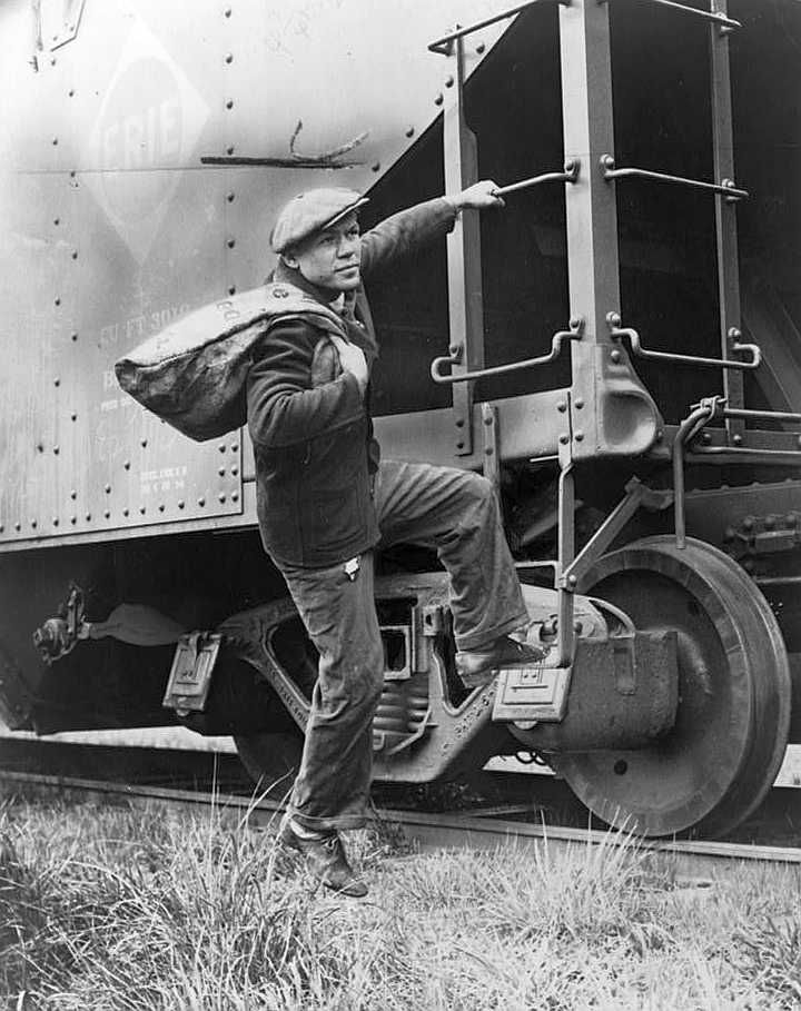 Hopping a freight train in the 1930s - Photo: Alan Fisher