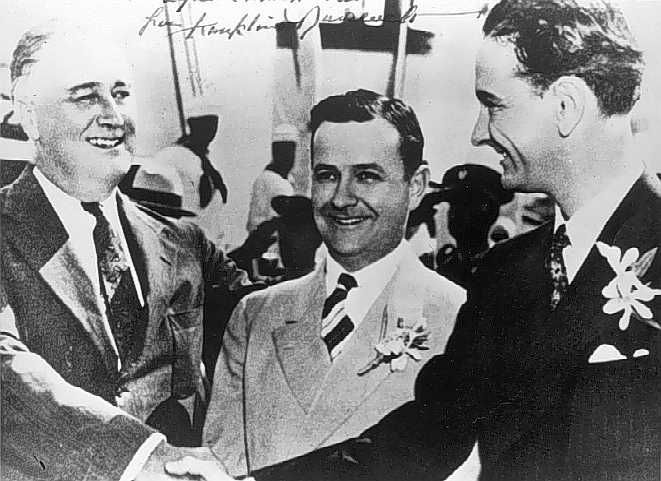 President Roosevelt, Governor James Allred of Texas, and Lyndon Johnson, 1937 via Wikipedia.