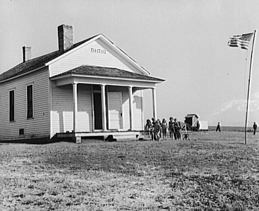 One-room schoolhouse. Seward County, Nebraska. Nebraska's school system is very little consolidated; these little white schools are on county crossroads throughout the state Photo: John  Vachon