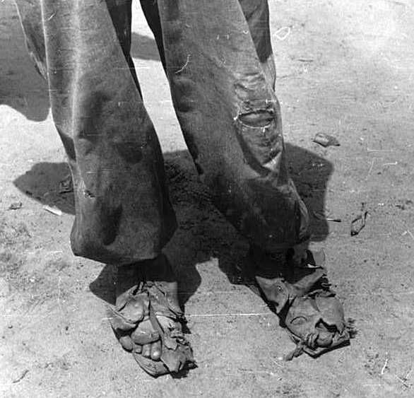 Shoes of a tenant farmer, near Columbia, South Carolina Photo: Marion Post Wolcott