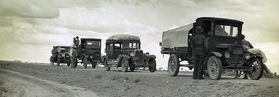 Three related drought refugee families stalled on the highway near Lordsburg, New Mexico.  Photo: Dorothea Lange