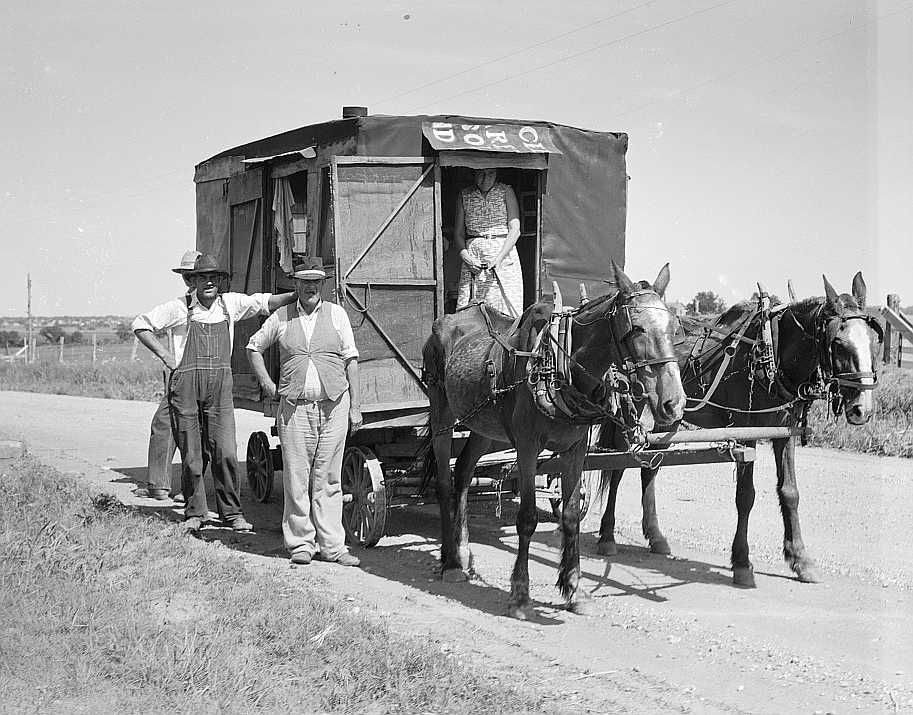 Bound for the wheat harvest, Southwestern Oklahoma, June 1937  Photo: Dorothea Lange