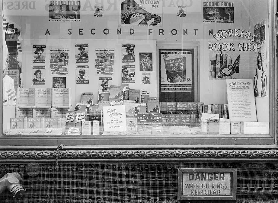 Workers' bookshop in a building on 13th Street between University Place and Broadway, New York headquarters of the Communist party.  Photo: Marjory Collins