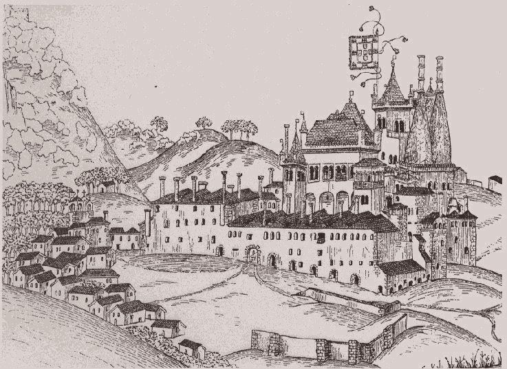 Drawing of Sintra Royal Palace in 1509 (Portugal) - Duarte D'Armas