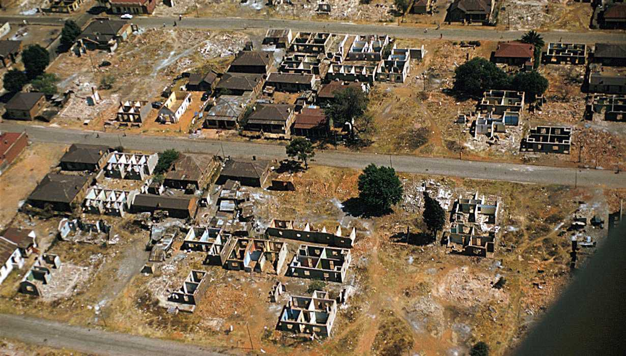Aerial view of Sophiatown, as it was left after removal of the population under the Western Areas Removal Scheme, Johannesburg, South Africa - Eliot Elifoson - Smithsonian SIRIS