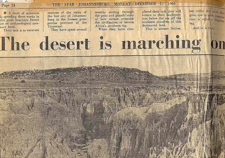 Desert is marching on -  Star. Johannesburg, 1966