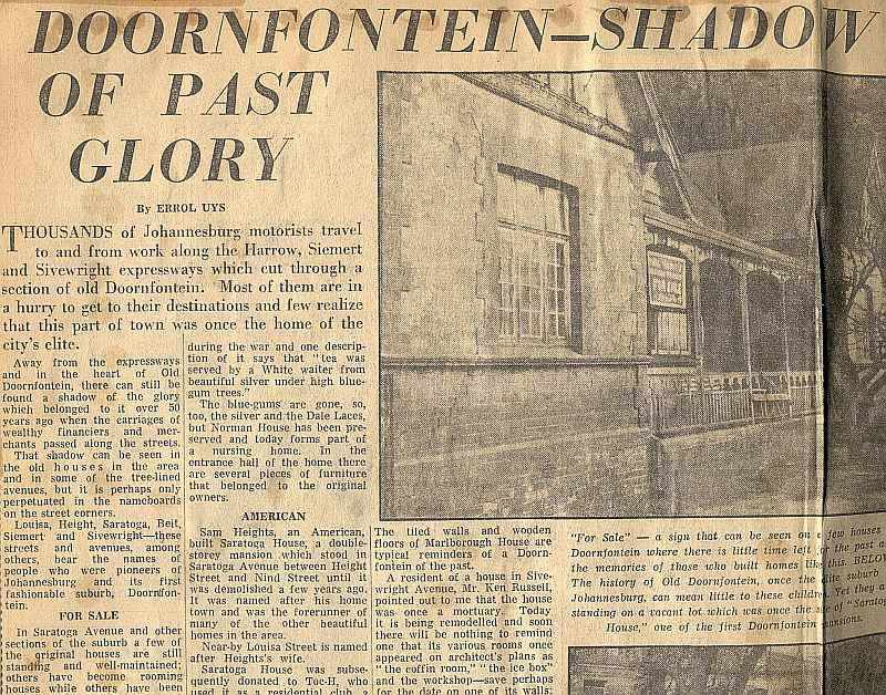 Doornfontein - Shadow of its past glory - Star, Johannesburg