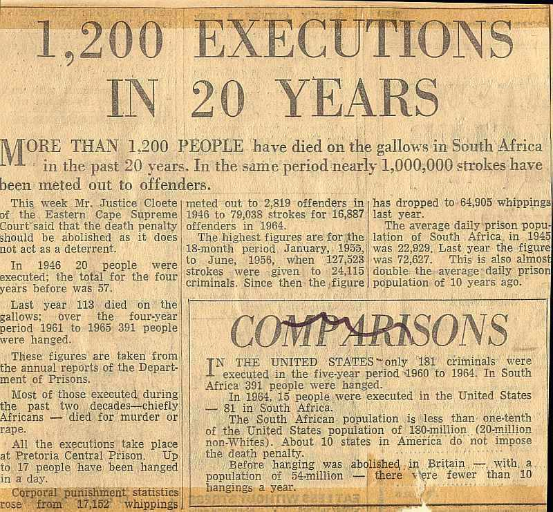1,200 Executions in South Africa in 20 years - Star, Johannesburg