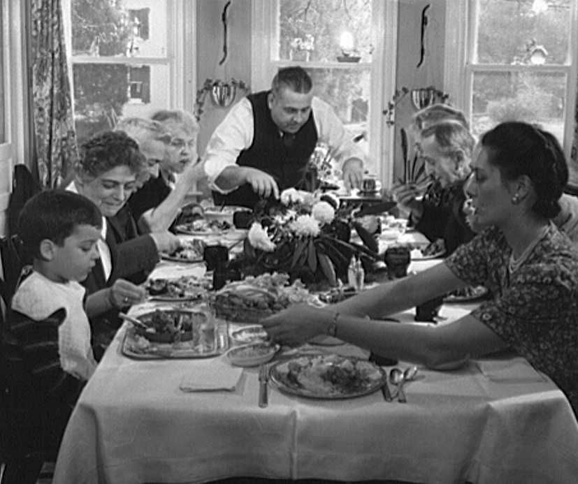 Thanksgiving dinner at home of Earle Landis, Neffsville, Pennsylvania  Photo: Marjory Collins