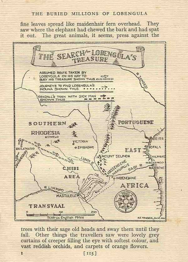 Map - Search for Lobengula's treasure